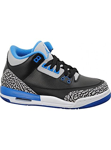 Nike Jungen Air Jordan 3 Retro BG Turnschuhe, Schwarz/Blau/Grau (Schwarz/Sport Blau-Grauer Wolf), 40 EU