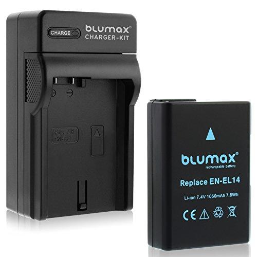 Blumax Akku für Nikon EN-EL14/EN-EL14a 1050mAh + Ladegerät für EN-EL14/EN-EL14a   Passend zu Nikon DF-D3100-D3200-D3300-D3400-D5200-D5300-D5400-D5500   Coolpix P7000-P7100-P7700-P7800