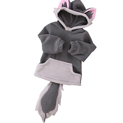 OVERDOSE Kind-Jungen-Mädchen-Karikatur-Entwurf Fox Hoodie-Jacken-Outwear-Mäntel 0.5-3 Jahre alt (1-2Jahre alt, A-Grau) (1 Jahr Alt Baby Mädchen Kostüm)