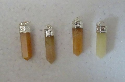 Valentine Day Sale ! Yellow Aventurine Point Pendant For Increase Optimism and Self Confidence Free Set Of 3 Lapis Lazuli Pyramid
