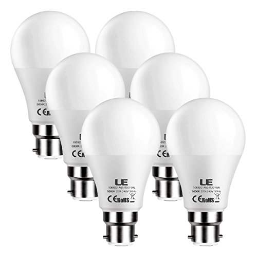 LE 9W B22 Bayonet Cap LED Bulbs, 60W Incandescent Equivalent, 800 Lumens, A60 LED Light Bulb, Daylight White, Pack of 6
