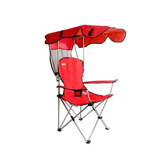 Love House Außen Faltbar klappbar Portable Campingstuhl Mit Sonnenschutz,Leicht Faltstuhl klappstuhl Mit Getränkehaltern,Angelstuhl,Wasserdichte,227 lbs unterstützt-rot