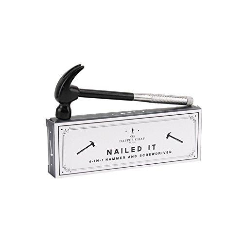 CGB Giftware Dapper Chap Nailed It 6 In 1 Hammer/Schraubenzieher Multifunktionswerkzeug (Einheitsgröße) (Silber/Schwarz)