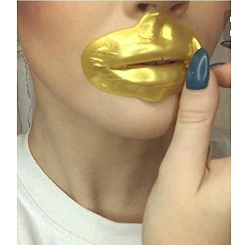 Ardisle, 10 maschere patch gel per labbra, elegante maschera al collagene dorata antirughe, per volumizzare, rendere le labbra più carnose