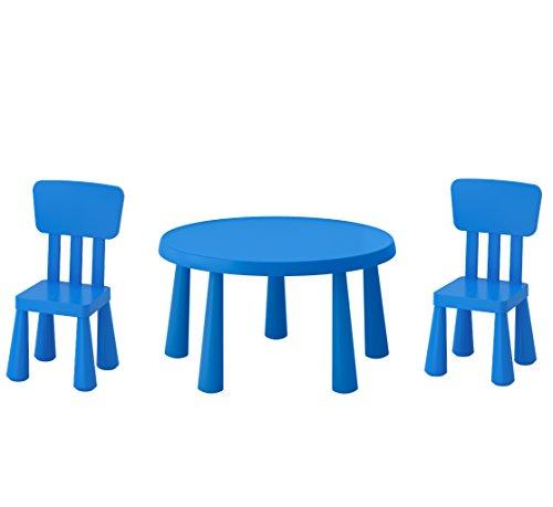 B2C IKEA Mammut Kindertisch, blau und Mammut Kinder Stuhl, blau (2Stück)