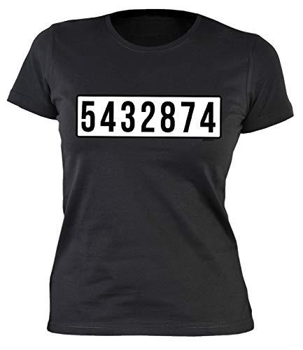 Sträfling Kostüm Frauen - Veri Sträfling Kostüm Damen T-Shirt Karneval Verkleidung Fasching Fun Party Artikel schwarz Gr: XL :-