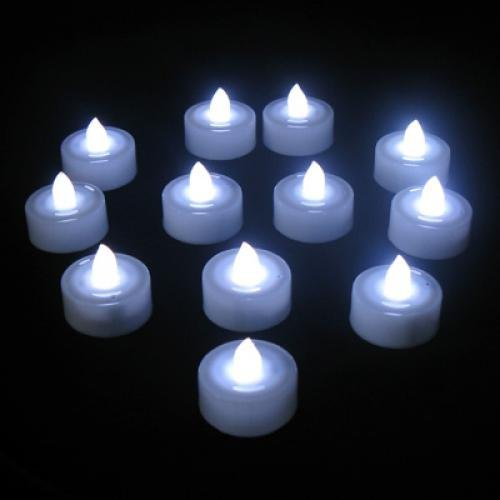 LED vela - SODIAL(R) 12 pzs Sople LED vela para boda fiesta - Color blanco