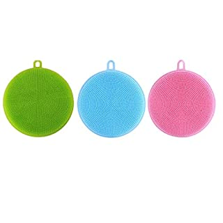 Silicone Kitchen Sponge Amamary 3 Pieces Silicone Dishwasher Detergent Washer Cleaning Antibacterial Tool