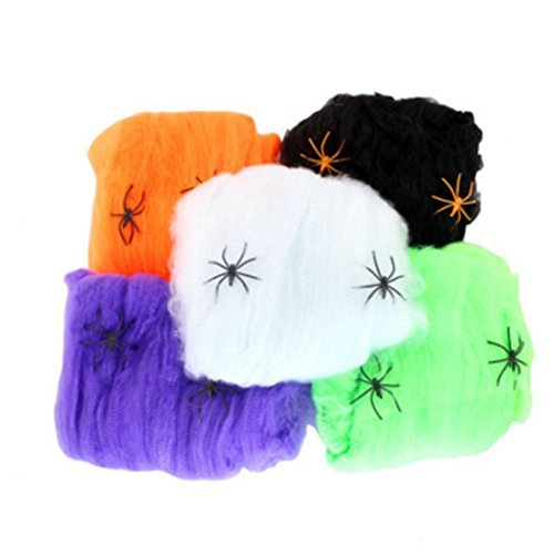CiCy Halloween Spider Bahnen Spiderweb mit Kunststoff Spinnen – 5 Packungen, Halloween Party ()