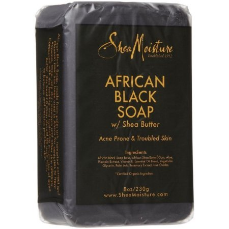 Shea moisture Organic African Black Soap Bar with Shea Butter, 8oz (3 Pack)