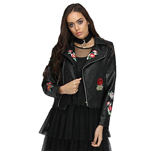 buy popular eb336 01d34 Moshow Cappotto da donna giacca di pelle Moto Pantaloni Punk Panno  d'autunno di Hip-Hop