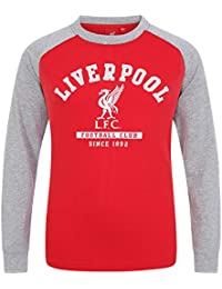 0e5d424974a Liverpool FC Official Football Gift Kids Crest Long Sleeve Raglan T-Shirt  Grey