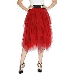 Urban GoCo Mujeres Enagua Falda Corta Midi Tul Damas Cintura Elástica Asimetricas Tutu Falda para Fiesta Danza (M, Rojo)