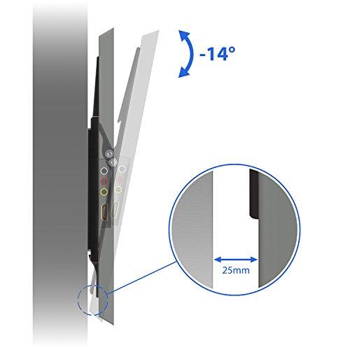 deleyCON Universal TV Wandhalterung – 26″ bis 65″ Zoll (66-165cm) – bis 14° Neigbar – Belastbar bis 35Kg – bis VESA 400x400mm – Wandabstand 25mm – TV Plasma LCD LED OLED TFT Halterung - 4