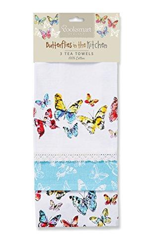 Cooksmart - Canovacci con motivo di farfalle, cotone, multicolore, confezione di 3