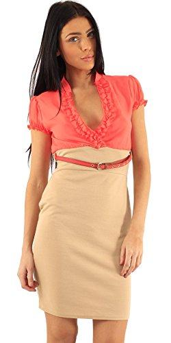 Neuen Frauen Kontrast Farbe Zwei Ton Chiffon mit Puffärmeln 2 in 1 Figurbetontes Kleid mit (Sleeve Belted Puff Dress)