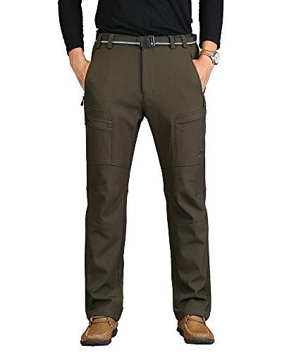 Randonnée Pantalon Outdoor Sport en Softshell pour Homme et Femmes Thermique Imperméable Coupe-vent pour Camping Randonnée Armée verte XXL