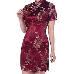 Hibote Mujeres del Vestido de Partido Elegante de Las SeNoras de China Qipao Cheongsam Vestido Vestido de Noche Chino
