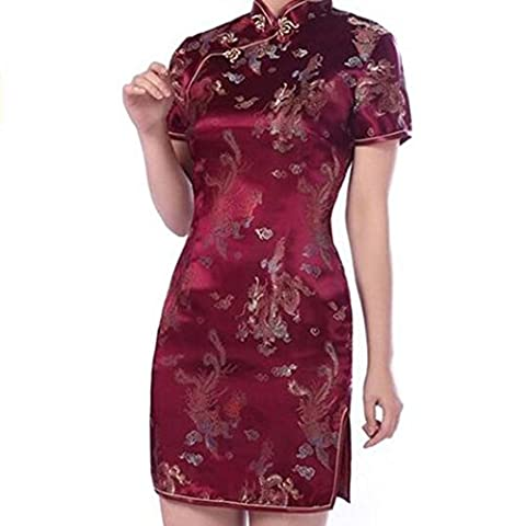 Damen Partykleid hibote Qipao China Cheongsam Kleid Chinesisch Abendkleid (Venedig Karneval Kostüme Uk)