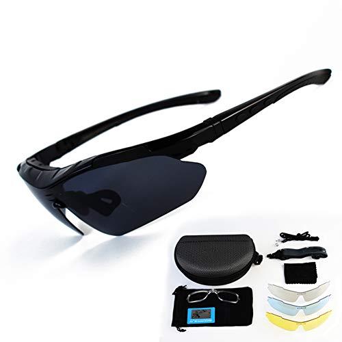 ZllSports Polarisierte Sonnenbrillen zum Angeln mit 4 auswechselbaren Gläsern mit Mens und Womens Motion mit Abnehmbarer Myopie Sonnenbrille,Black