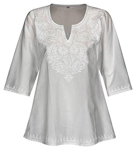 Maharanis Kurti Klassiker Tunika Bluse Reine Baumwolle Weiß handbestickt XL (Tunika Kurti Shirt)