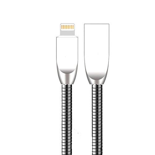 LoongGate Metall USB Kabel - 2.4A Schnelllade- und Datenübertragungskabel - Super Durable Fast unzerstörbar - Biegsam und Wetterbeständig - Kompatibel mit iPhone - 1m - Schwarz - Draht Apple Von Usb-ladegerät Ipad