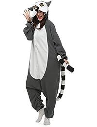CuteOn Animal Carnaval Disfraz Cosplay Pijamas Adultos Unisex Mamelucos Homewear Ropa De Noche Lémur