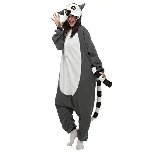 isex Tier Onesies Kigurumi Pyjama Tieroutfit Nachtwäsche Schlafanzüge Halloween Kostüme Overall mit Kapuze Lemur X-Large (Lemur Halloween Kostüme)