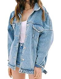 cea8efd12509c1 Foluton Damen Jacke Jeans mit Taschen Knopf Verschluss Einfarbig Young  Fashion Trendigen Coat Revers Jungen Langarm Frühling Herbst…
