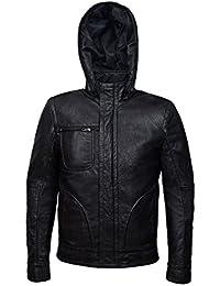 Chaqueta de piel para hombres, MISSION IMPOSSIBLE, con capucha, color negro, cuero estilo nappa arrugado, muy buen ajuste al cuerpo (XL)