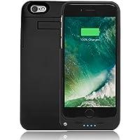 Custodia con Batteria Ricaricabile per iPhone 6, 6S Alimentata dal Cavo Lightning – Cover Ricaricabile Sottile, Leggera, Facile-da-Maneggiare per iPhone Apple di 4.7 pollici - 3200 mAh (Nero Opaco)