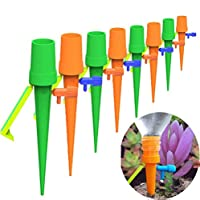 12 Pack Self Watering Spikes with Control Valve Slow Release Vacation Plants Watering System Automatic Watering Devices Drip Irrigation System for Indoor Outdoor Use