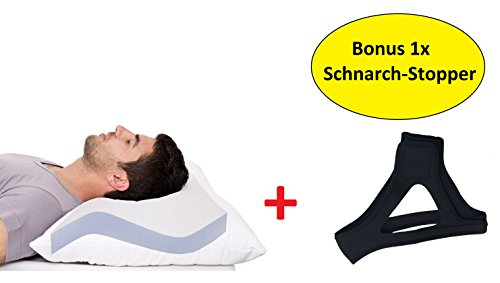 AGIA TEX Anti-Schnarch-Kissen + Schnarchband | Kopfkissen 40 x 80 cm mit samtweichen Mikrofaserbezug Öko-Tex 100