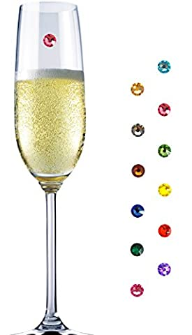 12'er-Set Glasmarkierer Party - Partydeko - Hochzeitsdeko - Glasmarkierer aus edlen Swarovski® Elementen - Setzen Sie ein Statement und schmücken Sie ihre Gläser einzigartig