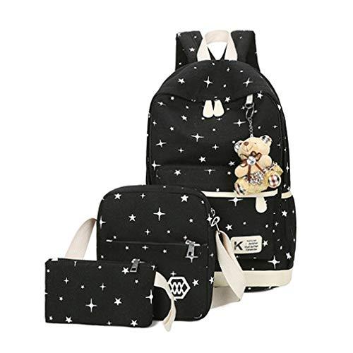 3 Stücke Sets Mädchen Frauen Cute Bear Rucksäcke Leinwand Schultaschen Black L25cm W12cm H43cm