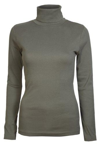Damen Rollkragen-Pullover, ausschließlich von Brody & coâ ®, Unifarben, für den Winter und Skifahren, Stretch-Qualität, Jersey Baumwolle Gr. Medium, khaki - Baumwoll-jersey Mantel
