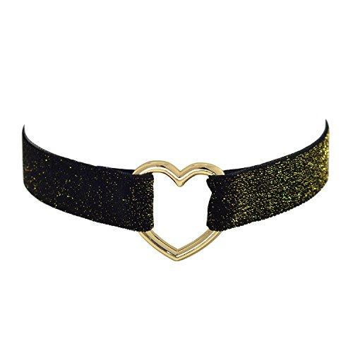 Cinturón de terciopelo negro gótico collar de gargantilla con purpurina 12–15pulgadas