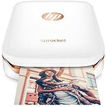 HP Sprocket-Impresora fotográfica portátil (impresión sin tinta, Bluetooth, 5x 7,6cm impresiones), color blanco/dorado