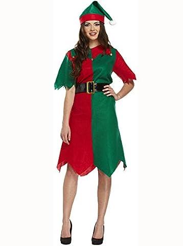 LADIES TUNIC ELF CHRISTMAS FANCY DRESS COSTUME XMAS CHEEKY WORKSHOP HELPER S-XL UK SIZE 8-22 (EXTRA LARGE) by (Elf Kostüm Uk)
