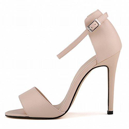 Metallschnalle Riemenband Sommer Aprikose Damen Römische Stilettos Pumps Sandalen Stil Einfache Lässige qP6wSYX