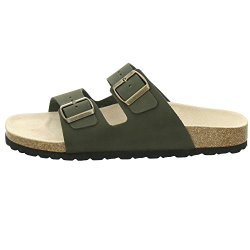 AFS-Schuhe 3100, bequeme Pantoletten, Hausschuhe für Damen und Herren, praktische Arbeitsschuhe, hochwertiges, echtes Leder Oliv