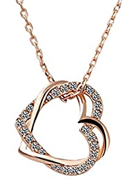 Shining Diva Rose Gold Plated Crystal Heart Necklace