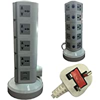 4-Way Universal Vertical Extension Socket with 2 USB Ports, 5 Layers, Gray