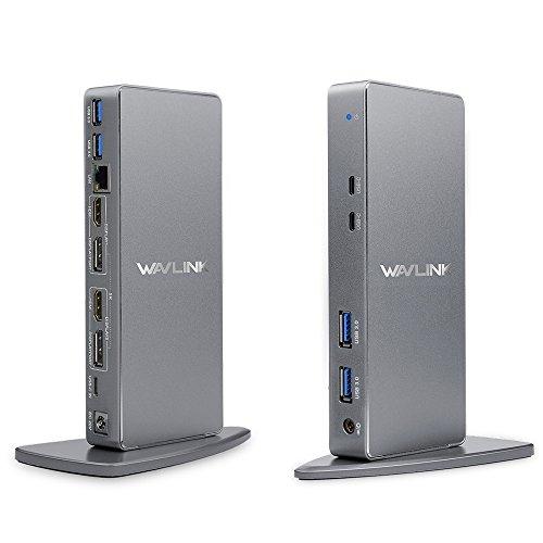 WAVLINK Aluminum USB 3.0 / USB C Ultra 5K Universal Docking Station unterstützt Dual 4K Videoausgänge für Laptop, PC oder Mac (DisplayPort und HDMI, Gigabit Ethernet, Zwei in eins Audioausgang und Mic in, 4 USB 3.0 Ports und 2 USB C Ports)