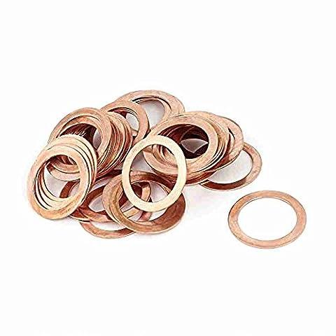 Move&Moving(TM) 22mm x 30mm x 1mm Metric Ring Shape Copper Flat Washer 50 Pcs