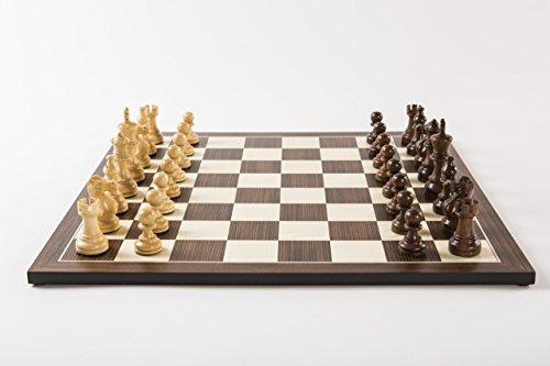Holz-Leute Teak-Schachset Cassia Exquisit, Figuren fein geschnitzt und gewichtet, Königshöhe 83 mm