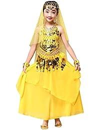 ropa de Danza del chica, Switchali infantil bebé Niña moda gasa Danza del vientre Equipar Disfraz de India Danze chaleco + Falda para Chicas vestido 2 Piezas Conjunto trajes