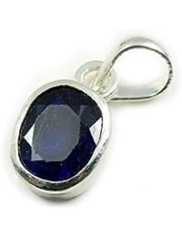 gemsonclick blau Saphir Stein natur 7Karat 925Sterling Silber Anhänger