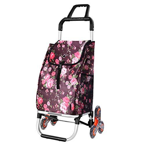 Einkaufswagen 6 Räder, leichte kompakte Klettersteige Nutzfahrzeug Aluminium faltbar tragbar, einfach zu tragen und einfach zu lagern