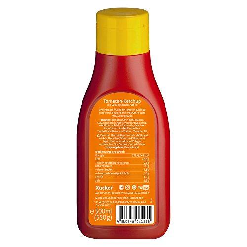 Xucker Tomaten-Ketchup mit Xylit 500 ml, ohne zugesetzten Zucker - 30% weniger Kalorien - Vegan, ohne Gentechnik